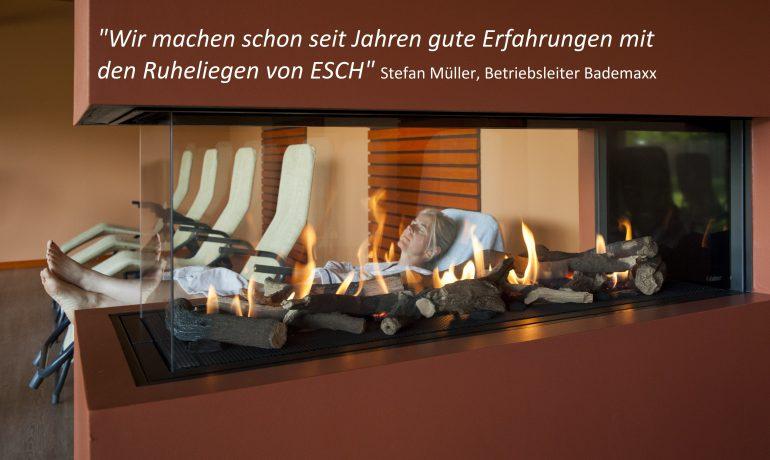 Bademaxx Speyer, Sauna Ruheraum mit Kippliege PERFEKTA